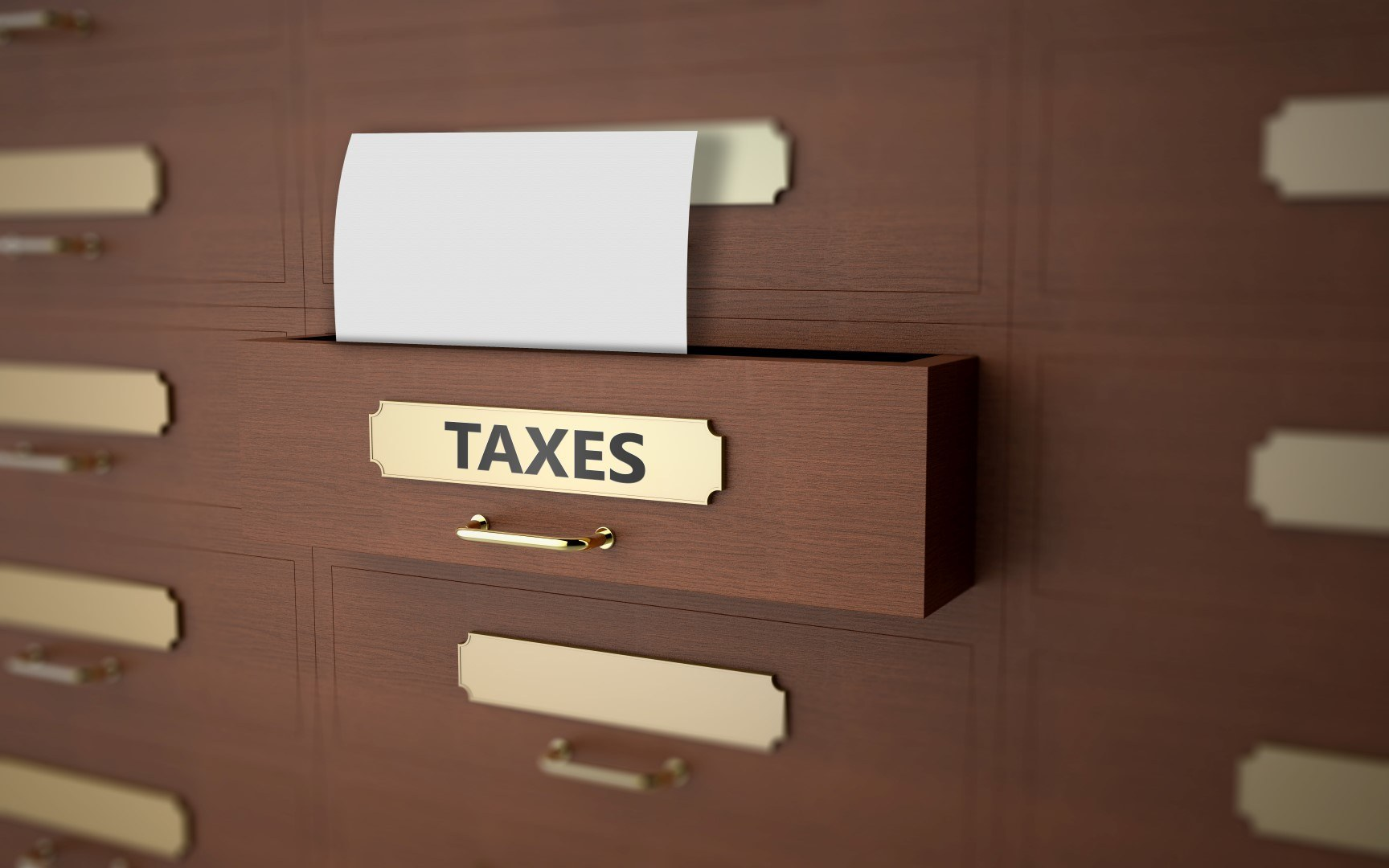 Office drawers with text on the subject of taxes